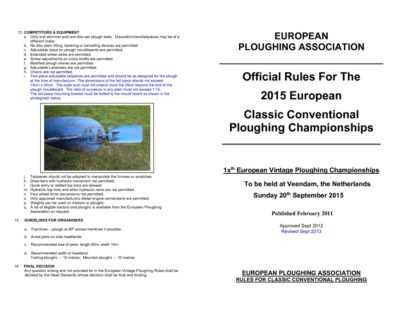 2015 Rules Classic Conventional Ploughs